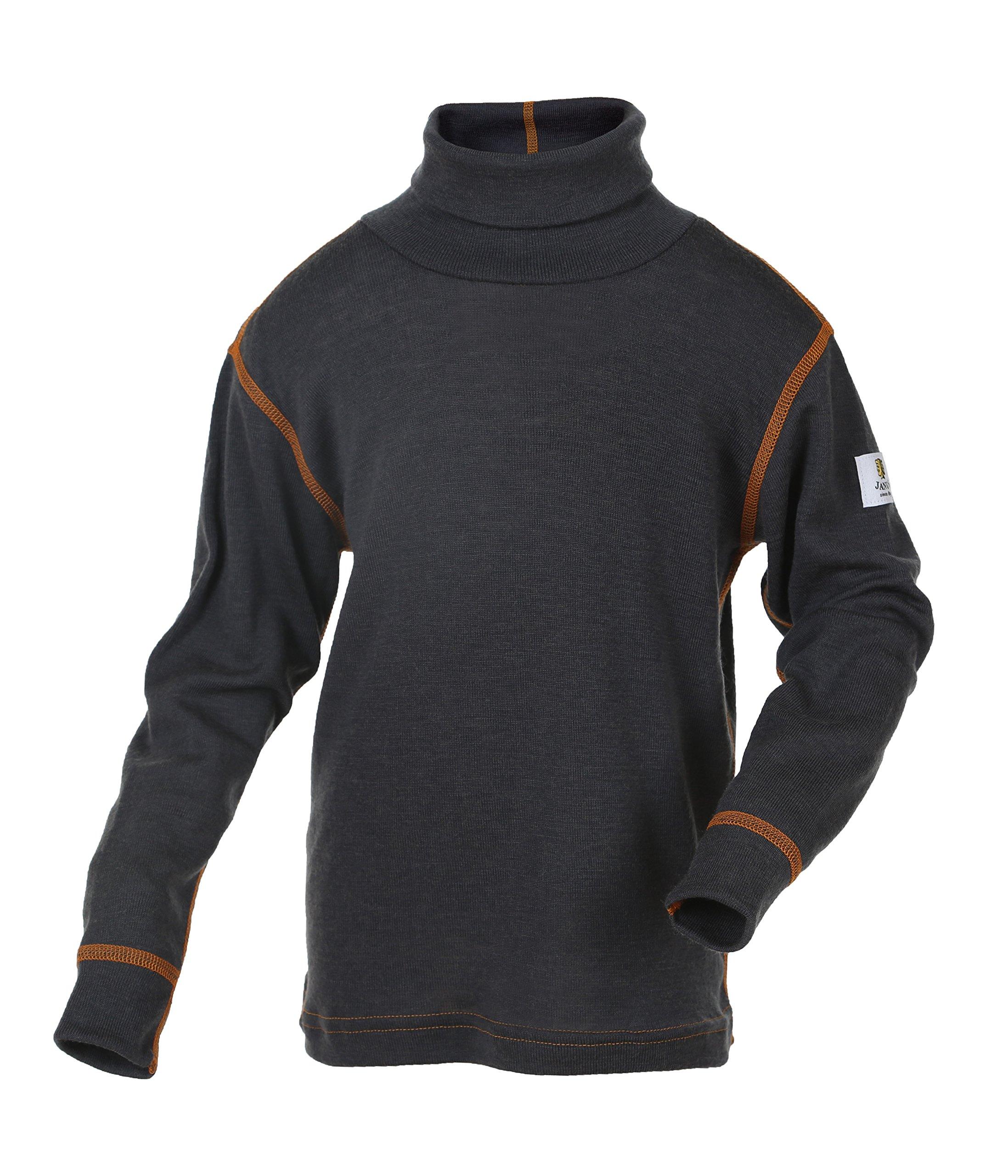 Janus 100% Merino Wool Baby Kids Long Sleeve High Collar T-shirt Made in Norway (140, Grey) by Janus