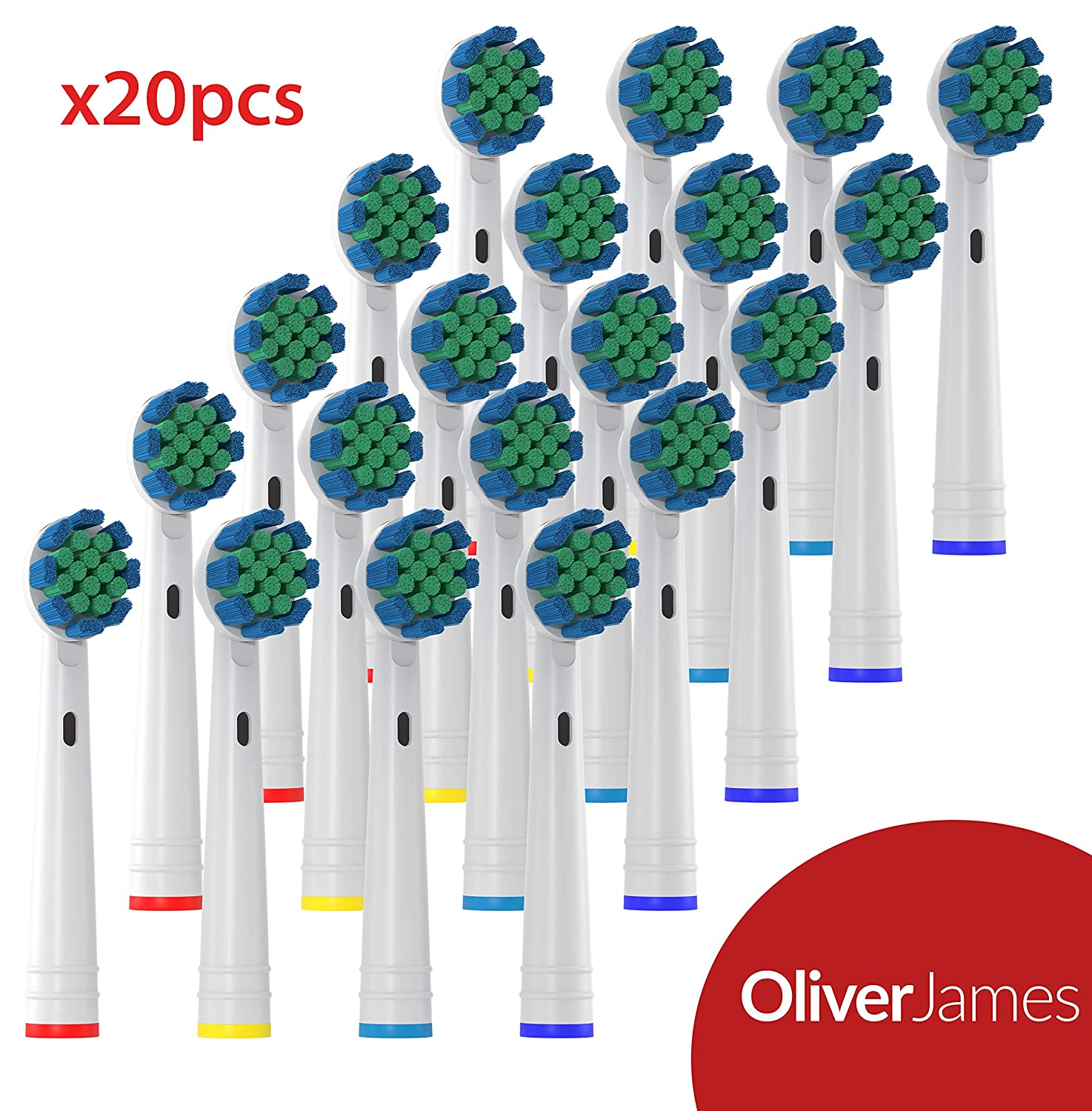 Oliver James Replacement Toothbrush heads - Compatible with Oral B Electric Toothbrushes - 20 pack LR-TXH4-VXUV