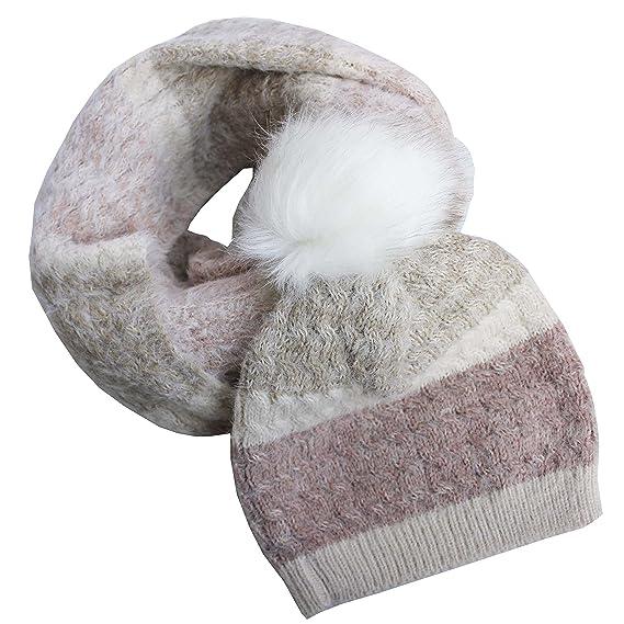 FERETI Bonnet Et Echarpe Femme Ensemble Rose Beige Tricot Tressée Tube  D hiver Ski Avec 48c35c3368a
