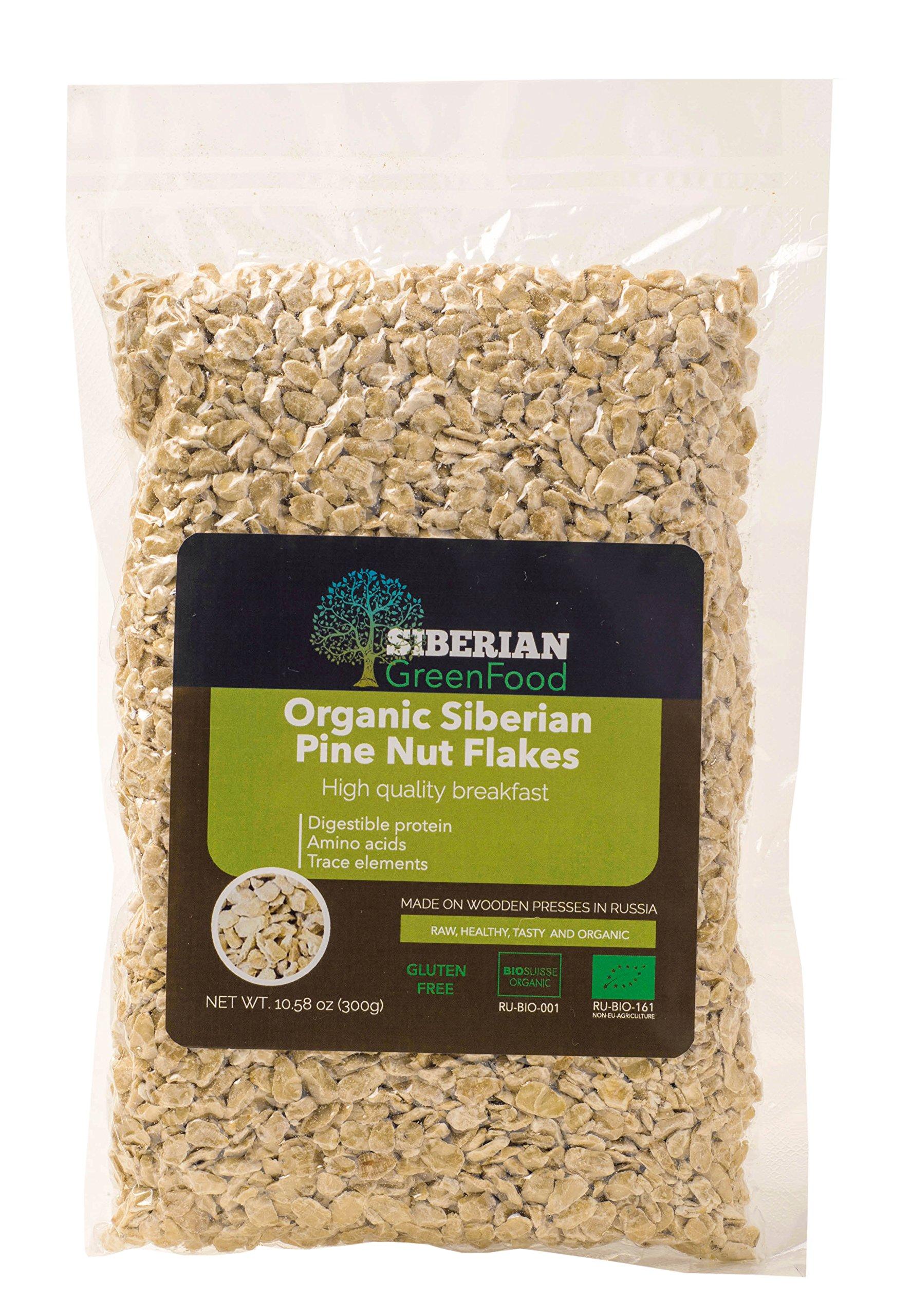 Organic Pine Nuts Flakes (low fat) 300gr/10.58oz vacuum pack by Siberian Green Food, European organic certificate.