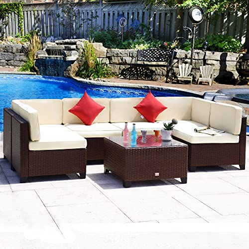 Cloud Mountain 7PC Patio Furniture Set Outdoor All-Weather Wicker Sectional Set Garden Rattan Conversation Set Cushioned Sofa and Coffee Table, Brown Rattan Beige Cushions