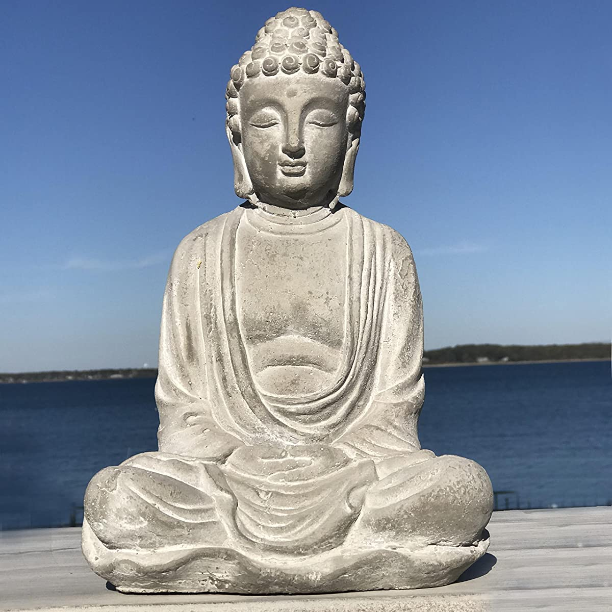 Whole House Worlds The Urban Zen Buddha Statue, Seated in Dhyanasana, Antiqued Stone Finish, Traces Of White Washed Paint, Hand Cast Cement, 11 In T, Garden and Home, From the Serenity Collection, By