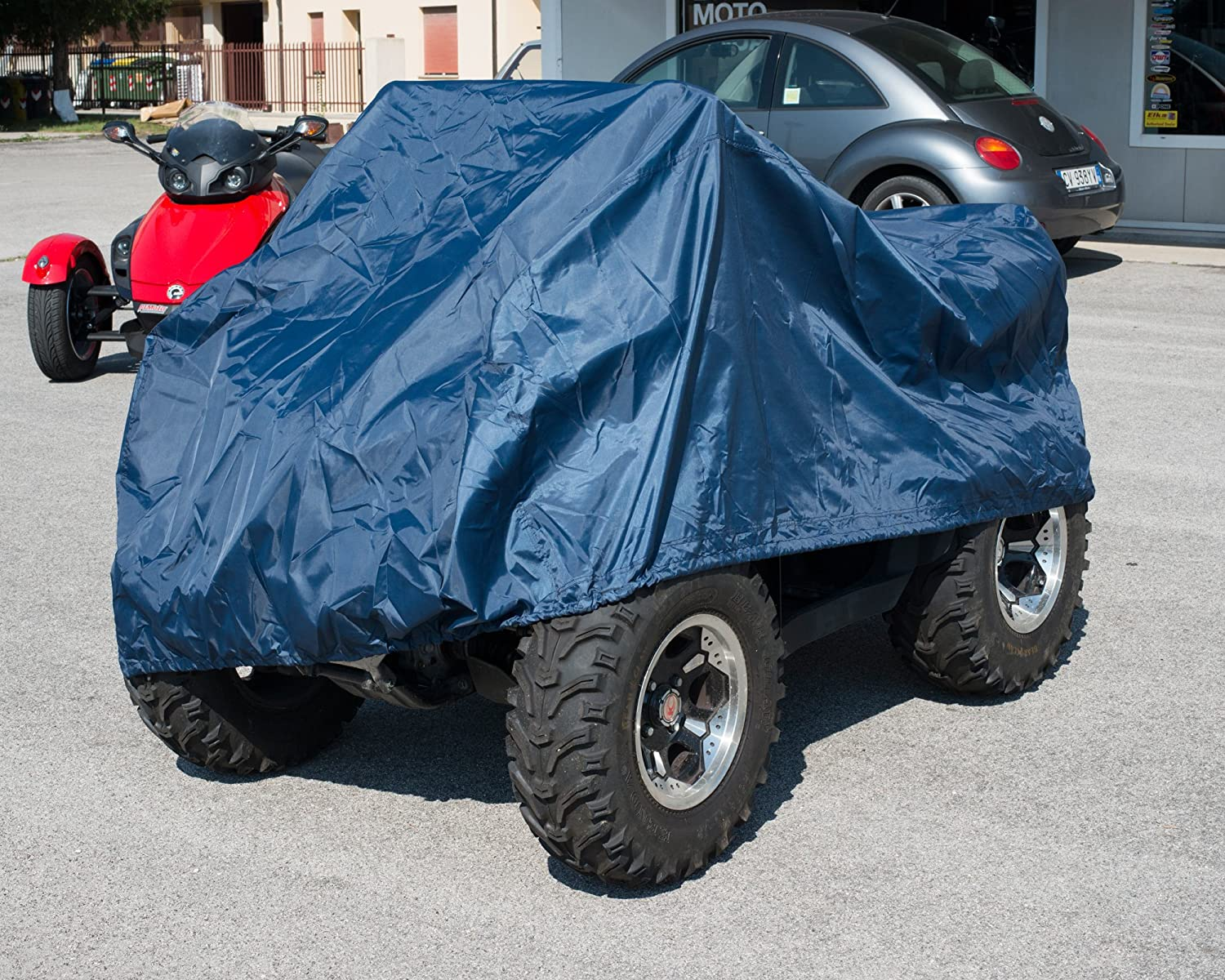 A-pro Waterproof Rain Cover Protection Motorcycle Motorbike ATV Quad Blue M