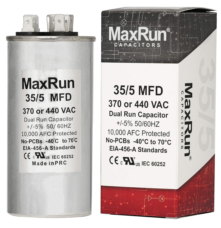 MAXRUN 35+5 MFD uf 370 o 440 Volt VAC Condensador de motor redondo ...