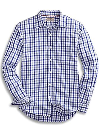 3fb41a938b5b5 Amazon.com  Goodthreads Men s Slim-Fit Long-Sleeve Checked Shirt ...