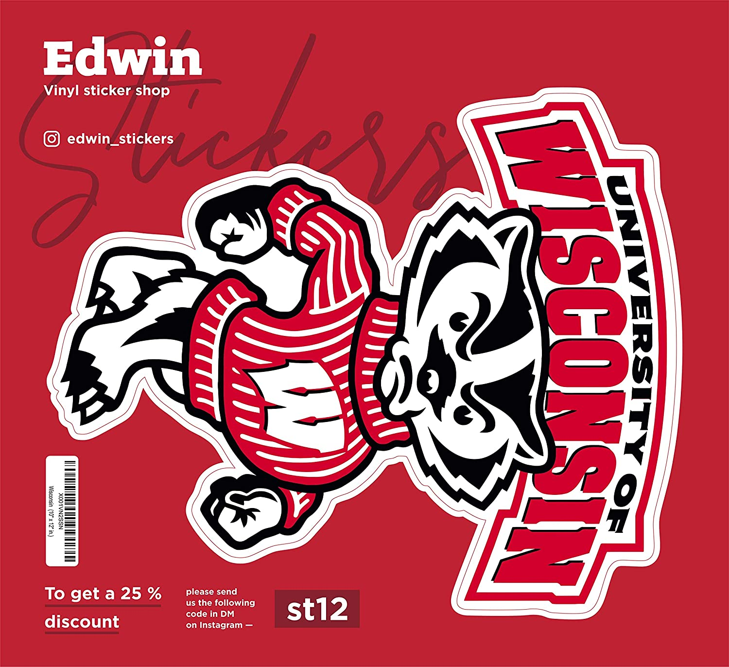 Edwin Group of Companies Wisconsin Badgers Vinyl Sticker Decal 5 SIZES Cornhole TruckCar Wall 10 x 12 in.