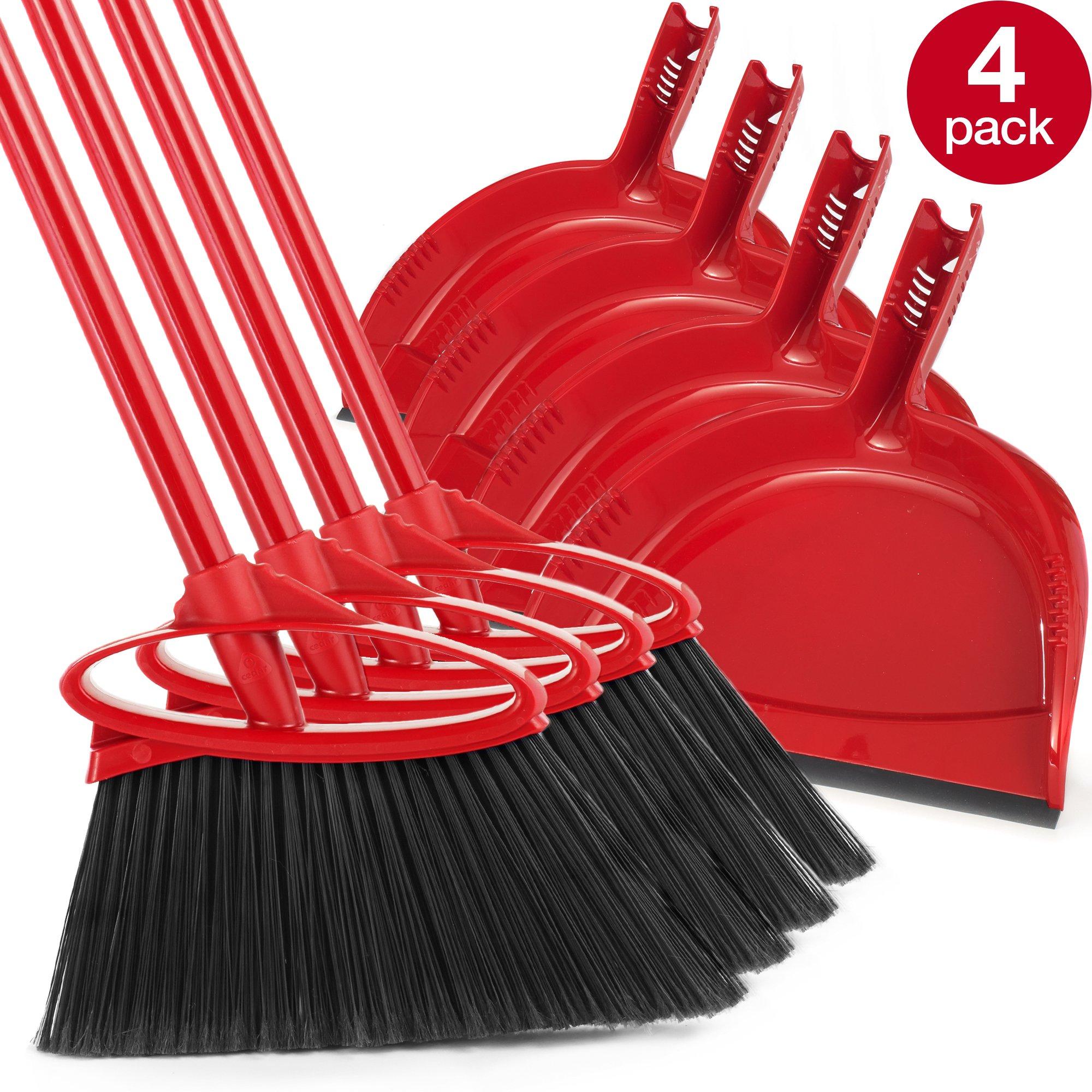 O-Cedar B01NBMAL83 791484317028 Angler Angle Broom with Dust Pan, Pack- 4, Red by O-Cedar