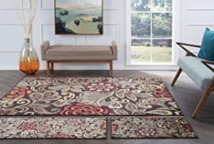 Tayse Dilek Brown 3 Piece Area Rug Set for Home, Room, and Decor - Transitional, Abstract