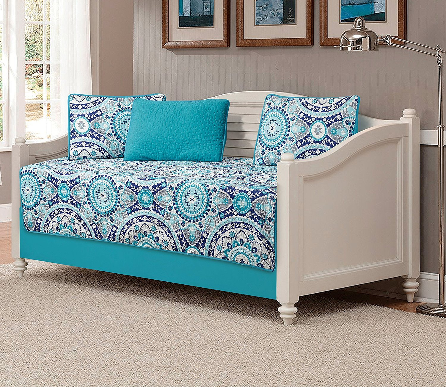 Fancy Collection 5pc DayBed Quilted Bedspread Coverlet Set Floral Turquoise Blue Gray Teal New