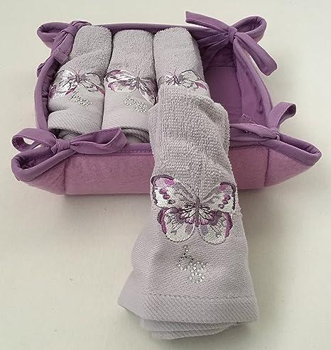Juego de 4 toallas 30 x 30 cm) + cesta de tela – Castadiva –