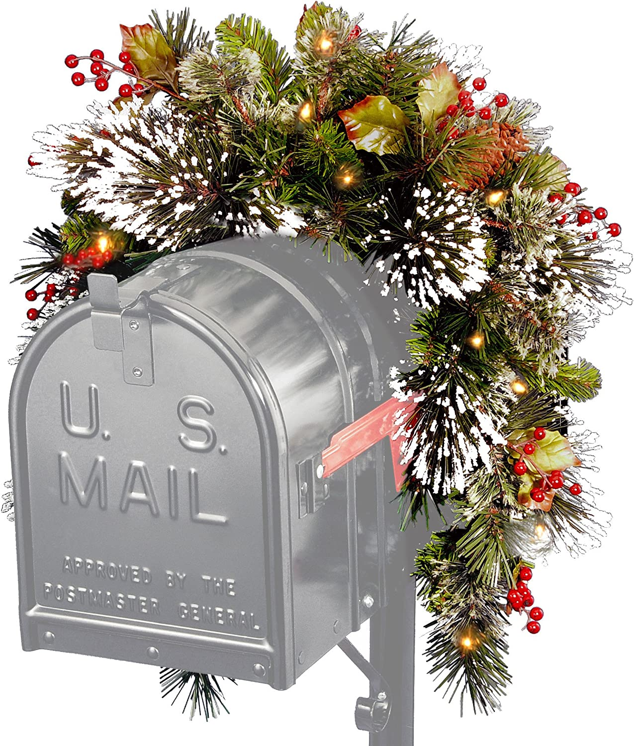 National Tree Wintery Pine Collection Mailbox Swag, 3 ft
