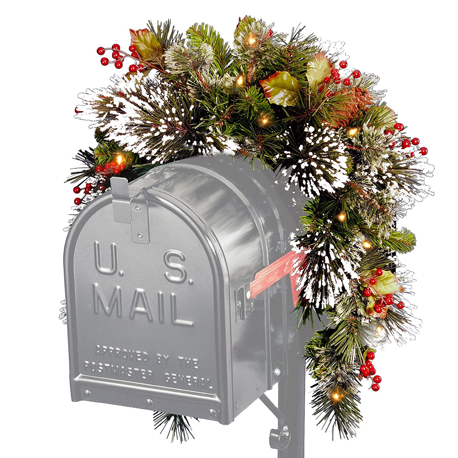 National Tree 3 Foot Wintry Pine Collection Mailbox Swag with Cones, Red Berries, Snowflakes and 15 Battery Operated Soft White LED Lights (WP1-300-3MB-1) National Tree Company