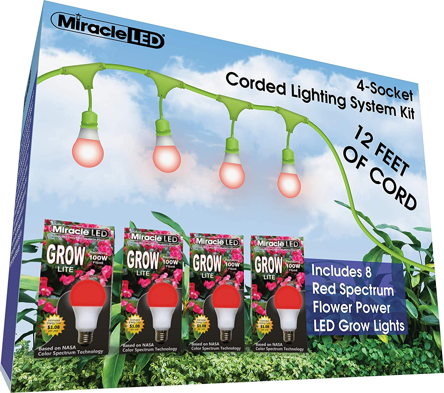 Miracle LED 602843 12ft Corded System Kit with 8 Red Spectrum Grow Lights