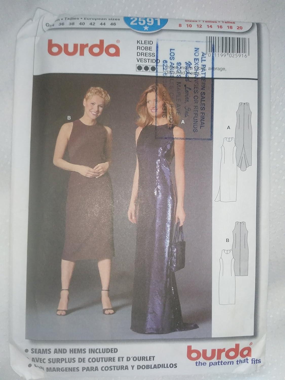Amazon.com: BURDA Sewing Pattern Dress, Robe, Vestido 2591 sizes 8, 10, 12, 14, 16, 18, 20 Seams and Hems included: Arts, Crafts & Sewing