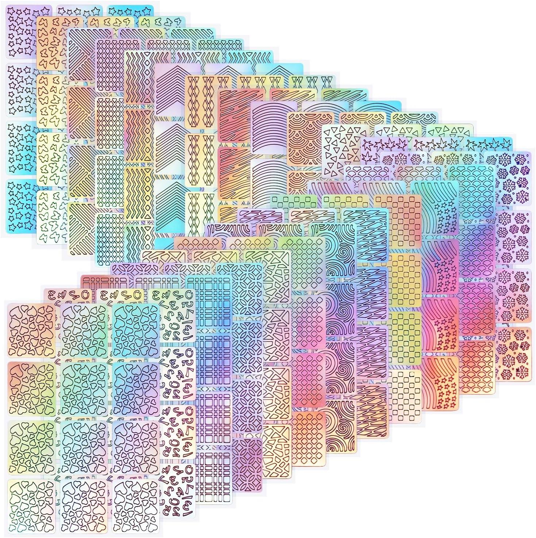 288 Piezas de Plantillas de Vinilo de Uña Pegatina de Decoración de Arte de Uña Kit de Diseño de Uñas Adorno de Punta de Uña, 24 Hojas