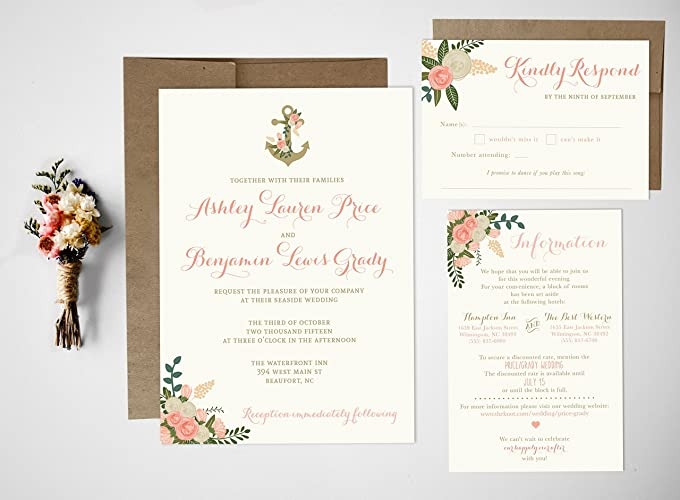 Nautical Wedding Invitations.Amazon Com Nautical Wedding Invitation Set Handmade