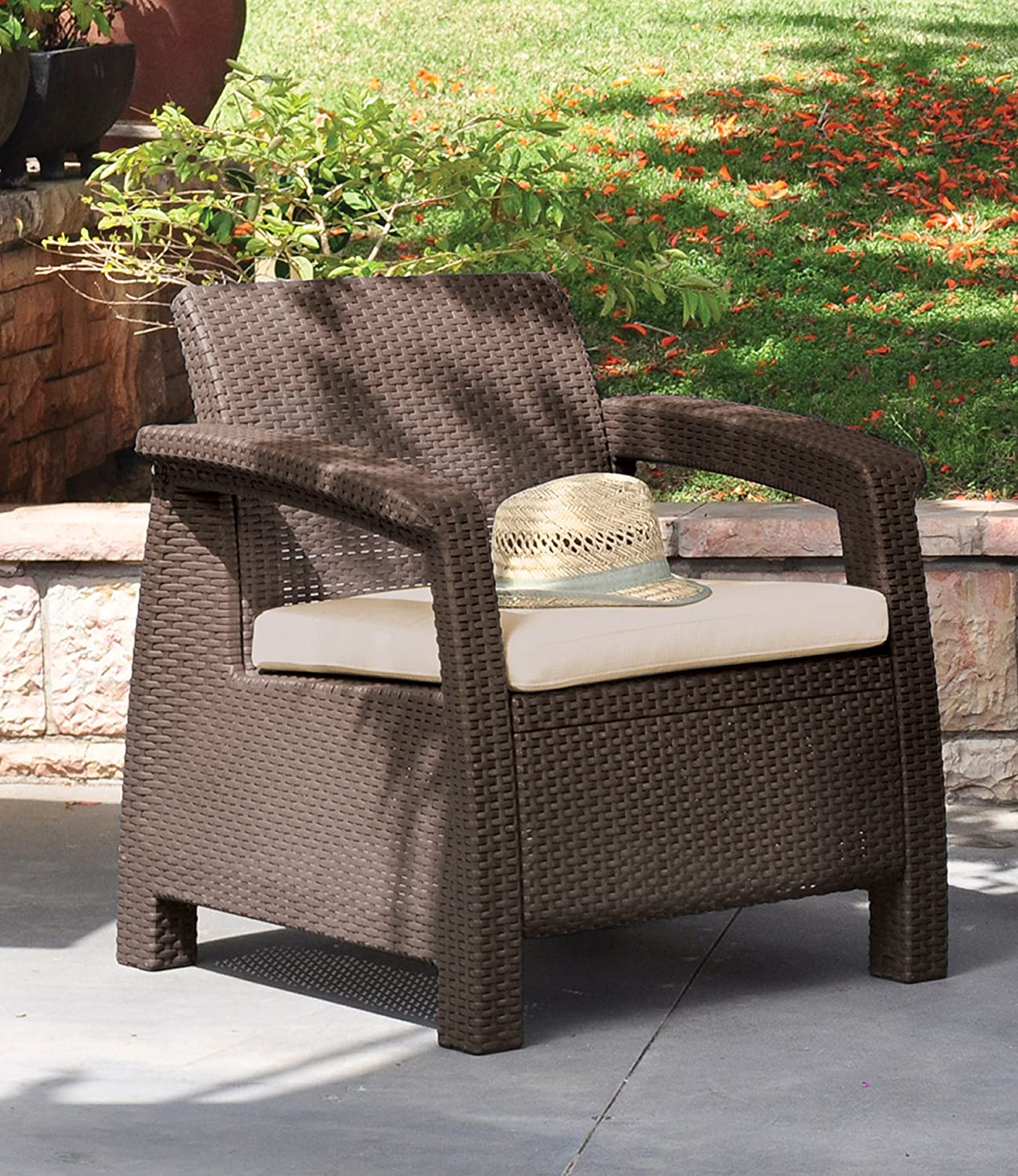 Exceptional Amazon.com : Keter Corfu Armchair All Weather Outdoor Patio Garden Furniture  With Cushions, Brown : Patio Lounge Chairs : Garden U0026 Outdoor Part 16