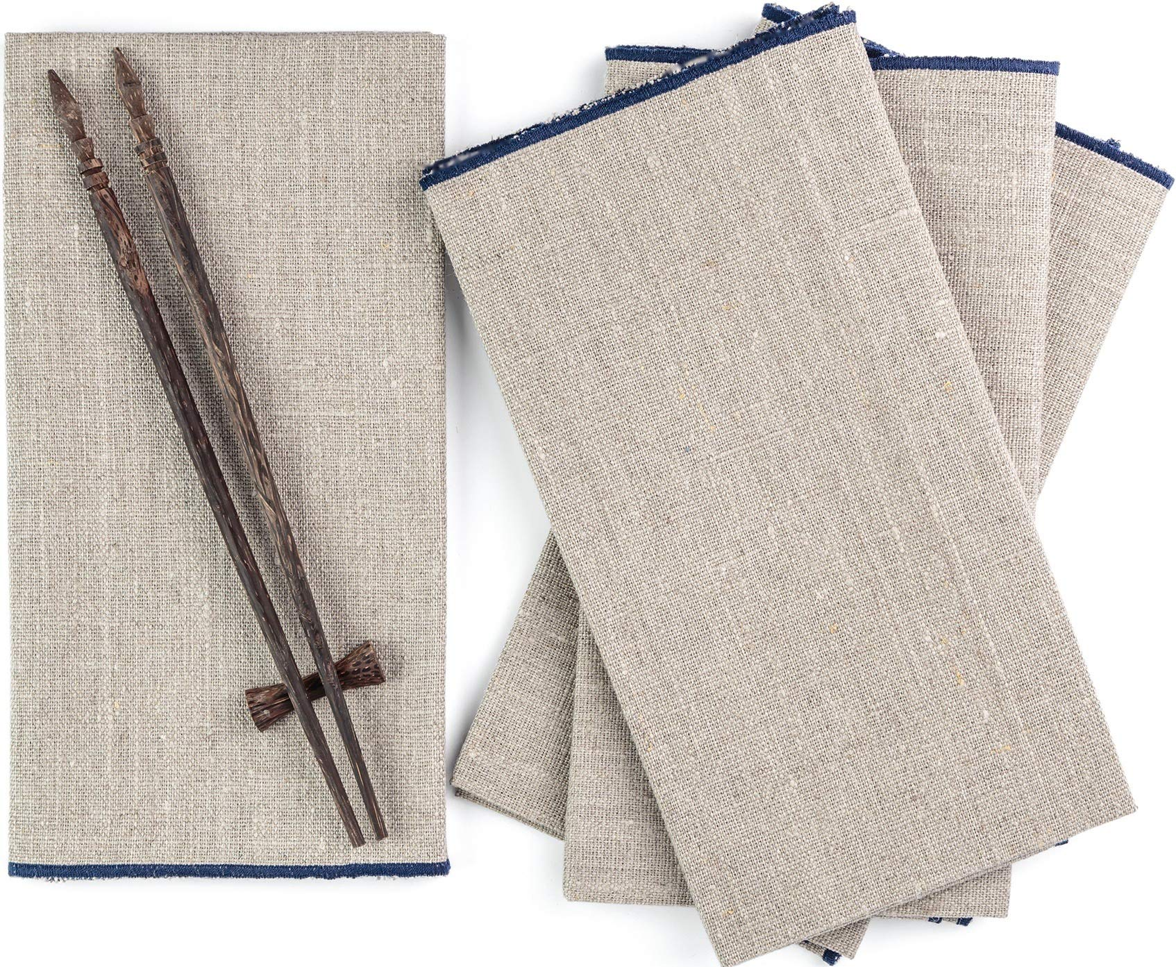 Pure Linen Dinner Napkins 20x20 inch – Set of 4 Pure European Flax Square Kitchen Napkins – Soft and Durable Cloth – Blue and Natural Dinner Napkins for Restaurants, Birthdays, Wedding Table Decor