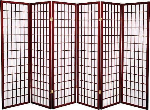 Oriental Furniture 5 ft. Tall Window Pane Shoji Screen – Rosewood – 6 Panels