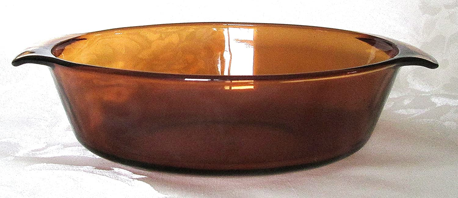 Vintage Amber Glass Anchor Hocking Covered Casserole Dish 1.5 QT