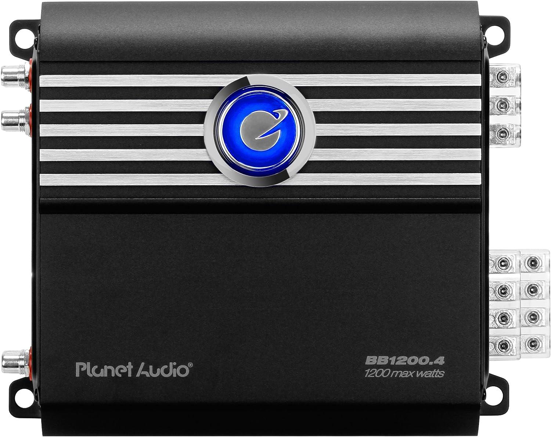 Planet Audio BB1200.4 Big Bang 3 1200-Watt Full Range Class D 2 to 8 Ohm Stable 4 Channel Amplifier