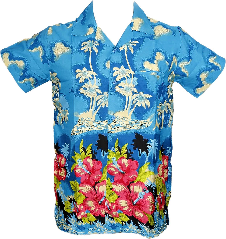 Camisa Hawaiana para Hombre, diseño de Palmeras, para la Playa, Fiestas, Verano y Vacaciones - XS - Turquesa: Amazon.es: Ropa y accesorios