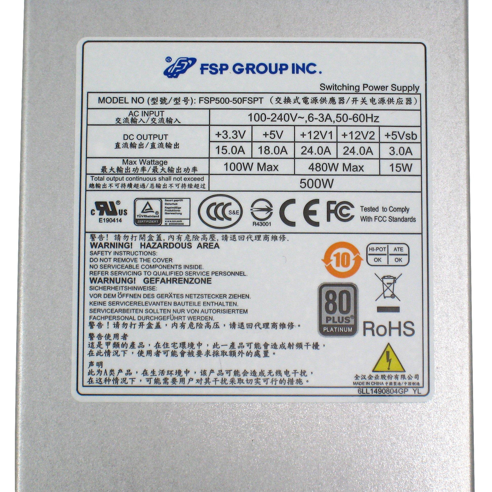 FSP Group Mini ITX Solution / Flex ATX 80 Plus Platinum 500W PMBus V1.2 High Efficiency Power Supply (FSP500-50FSPT) by FSP (Image #7)