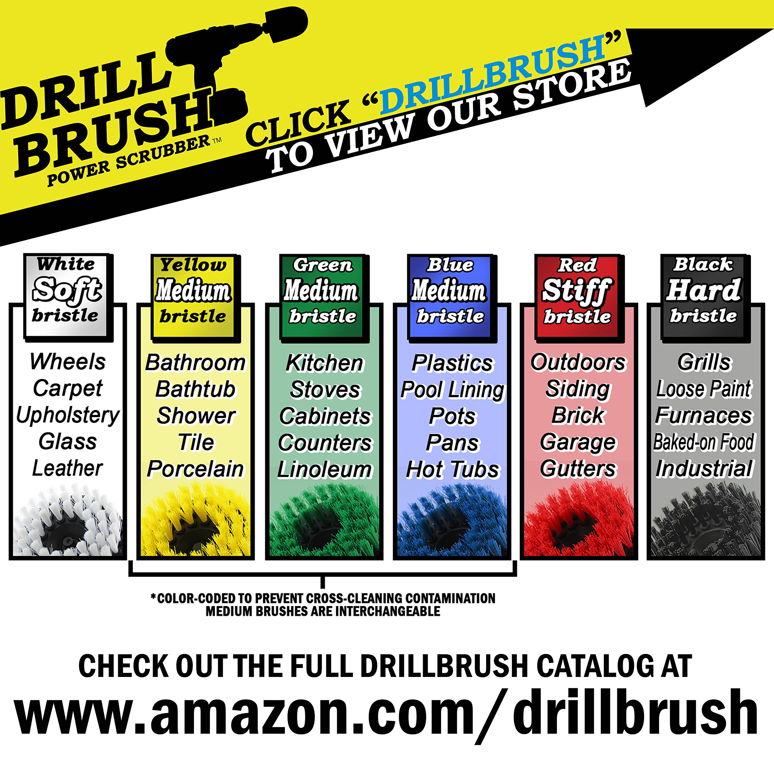 Stiff Bristle 4 Piece Drill Brush Nylon Cordless Drill Powered Spinning Brush Heavy Duty Scrubbing by Drillbrush by Drillbrush (Image #4)