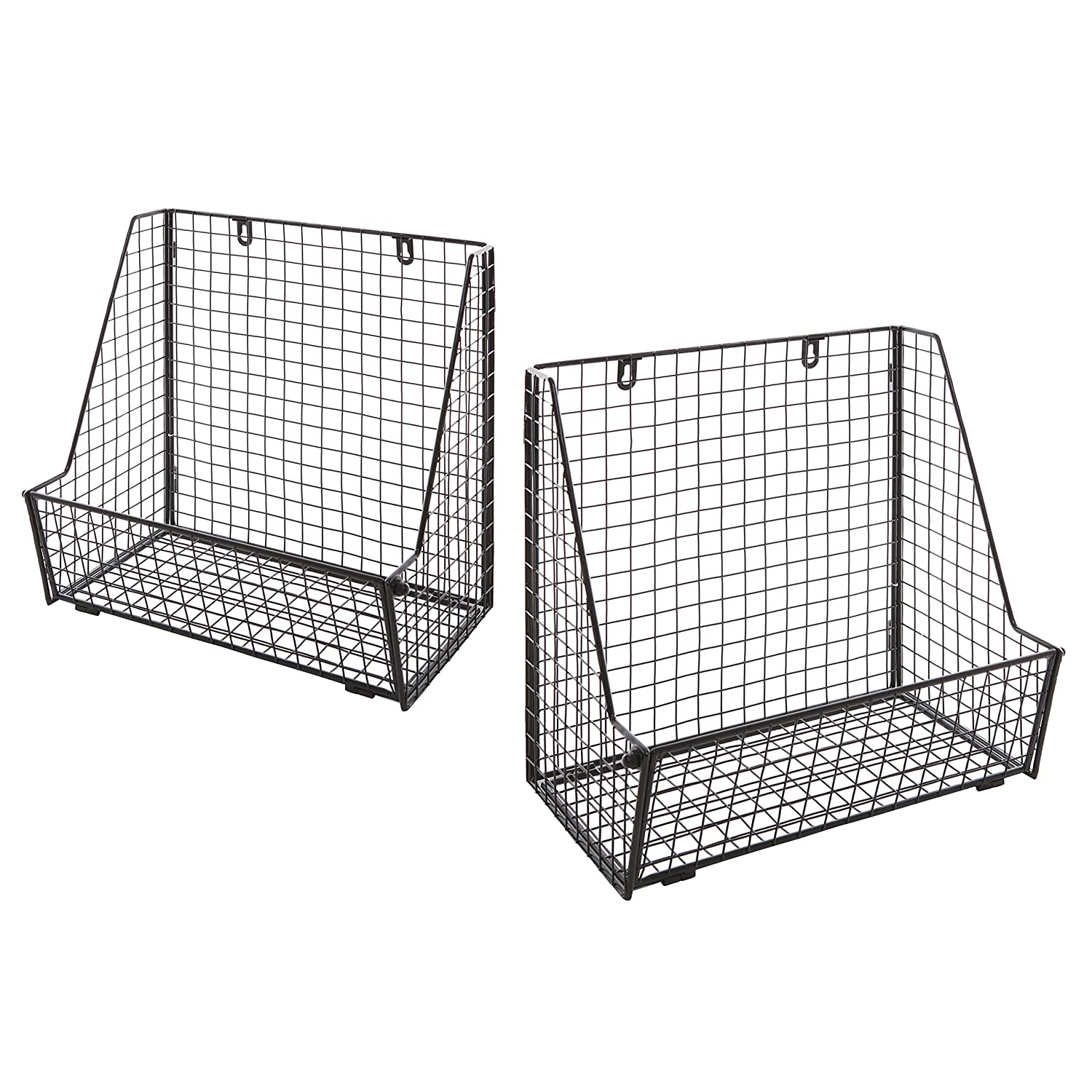 MyGift Metal Wire Wall-Mounted Towel Basket, Free Standing Magazine File Organizer Rack, Set of 2