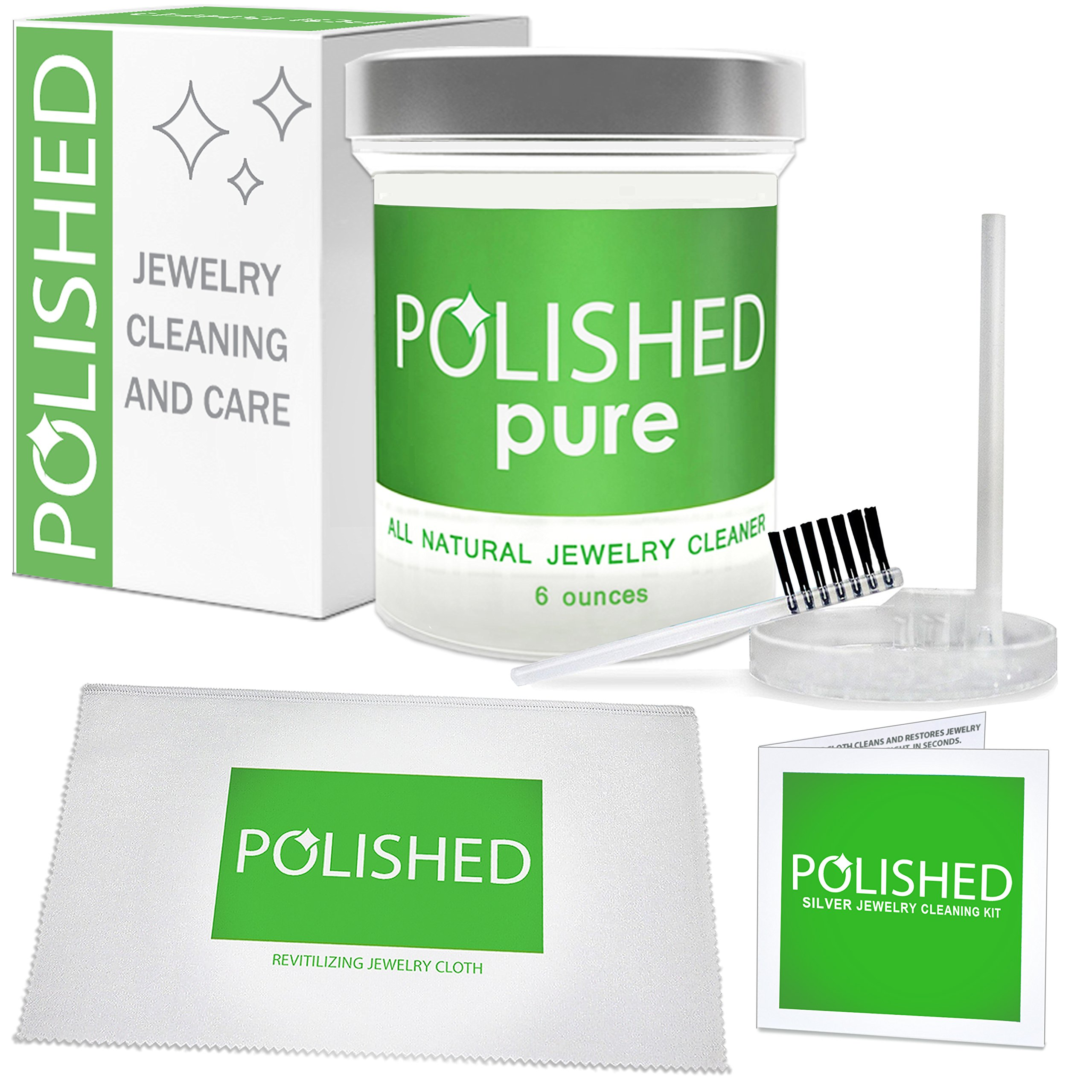 NEW Polished 100% All Natural Jewelry Cleaner Kit - Professional Clean in 2-Minutes! Diamond Ring Cleaner, Gold, Platinum | Safe on Skin, Made in USA, Jewelry Cleaning Solution + Polishing Cloth by Polished (Image #1)