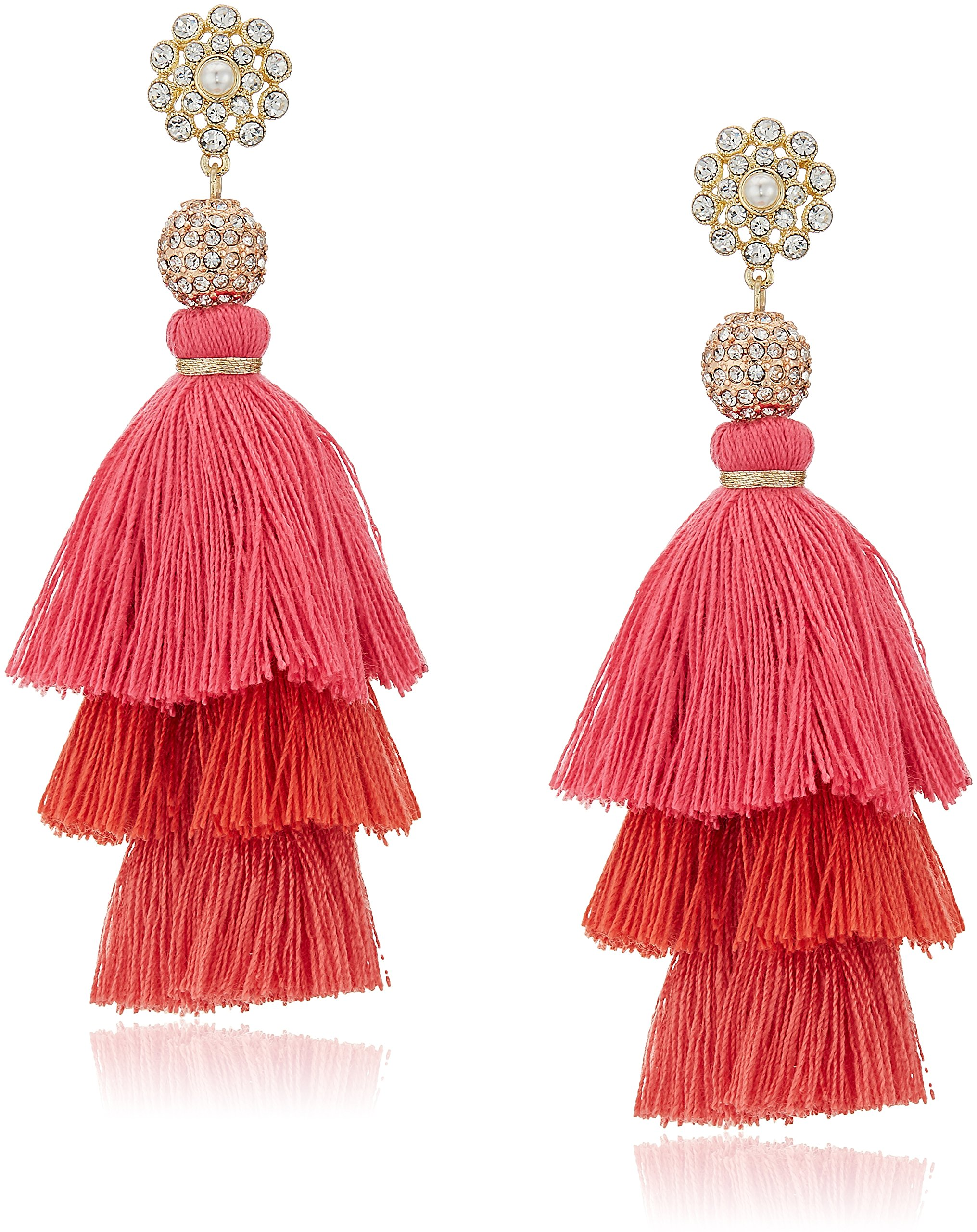 Badgley Mischka Womens Pink Ombre Triple Tassel Drop Earrings, Gold Tone, One Size