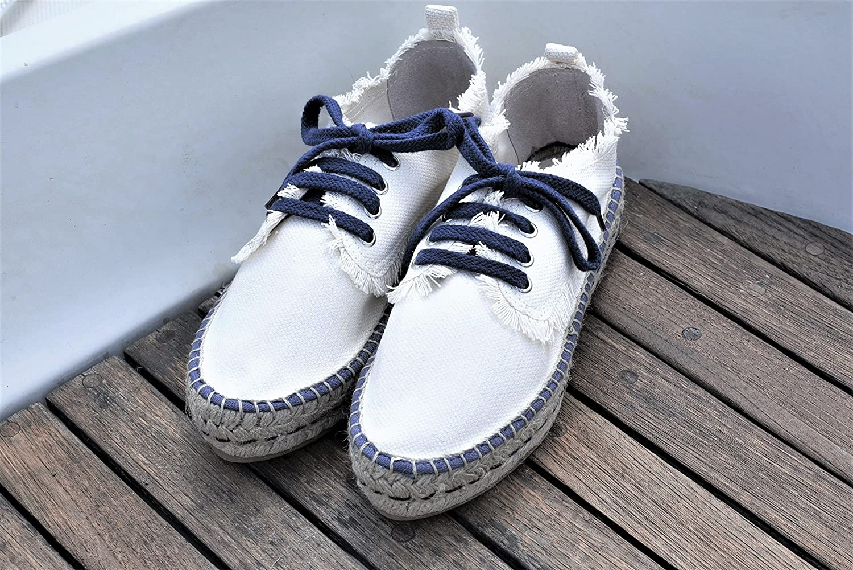 TUSITALA Damen Espadrille Halbschuhe Blanc Marine Ivoire/Lacets Et Coutures Bleu Marine Blanc 0cfbe0