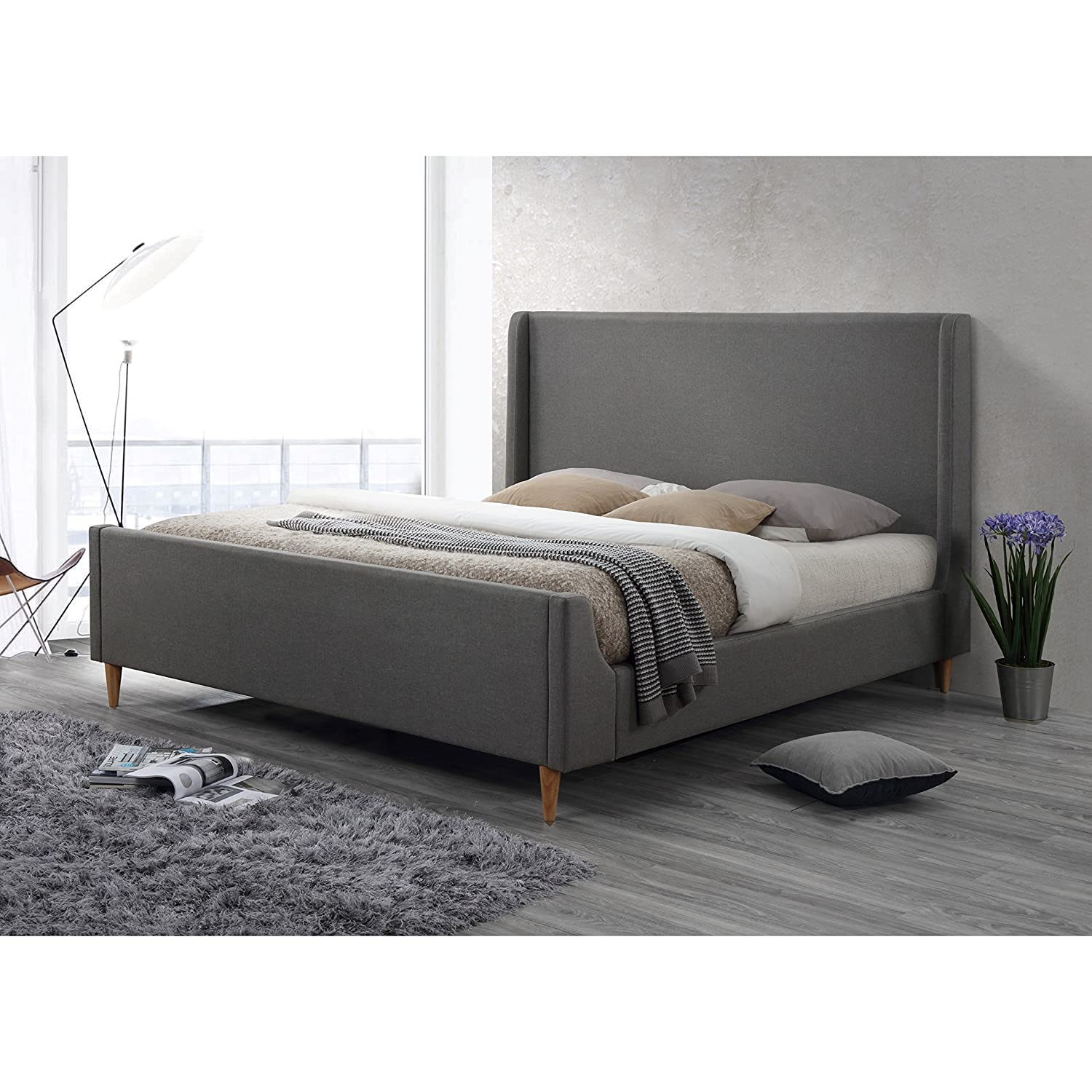 LuXeo LUX-K8816-GRY Bedford Upholstered Platform Bed, King, Linen Gray