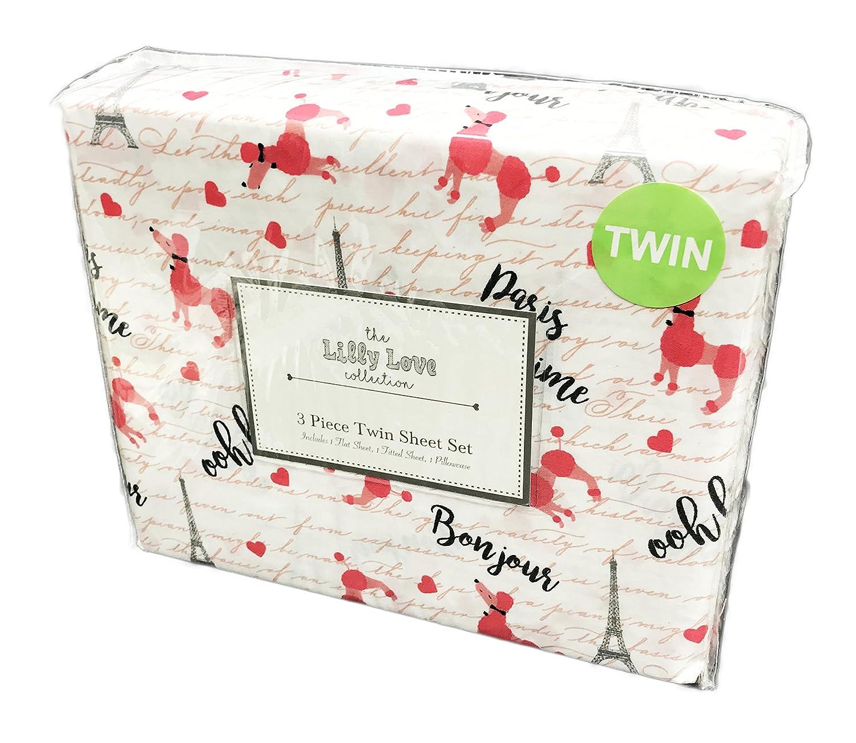 The Lilly Love Collection Paris Bonjour Ooh La La Eiffel Tower Pink Poodle's 3 Piece Twin Sheet Set
