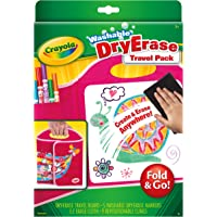 Crayola Washable Dry-Erase Travel Pack, Fold & Go Travel Set Art Gift for Kids & Toddlers 3 & Up, Portable All-In-One Dry Erase Set with Trifold Folio, Markers, E-Z Erase Cloth & Repositionable Clings