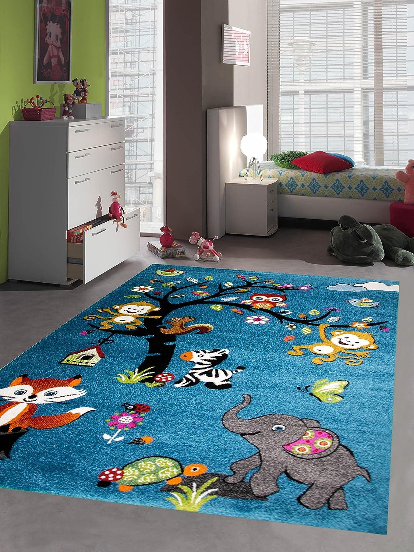 Kids carpet Game carpet childrens rug zoo animals elephant fox turtle zebra monkey owl turquoise size 80x150 cm Carpetia