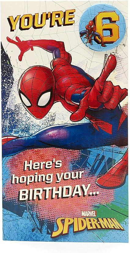 Carte D Anniversaire 6 Ans Spiderman Amazon Fr Fournitures De Bureau