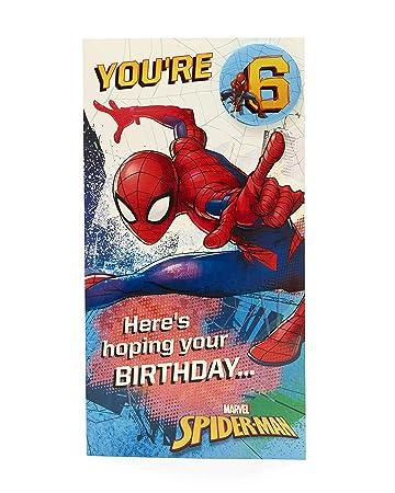 Amazon.com : Disney Spiderman Age 6 Birthday Card with Badge ...