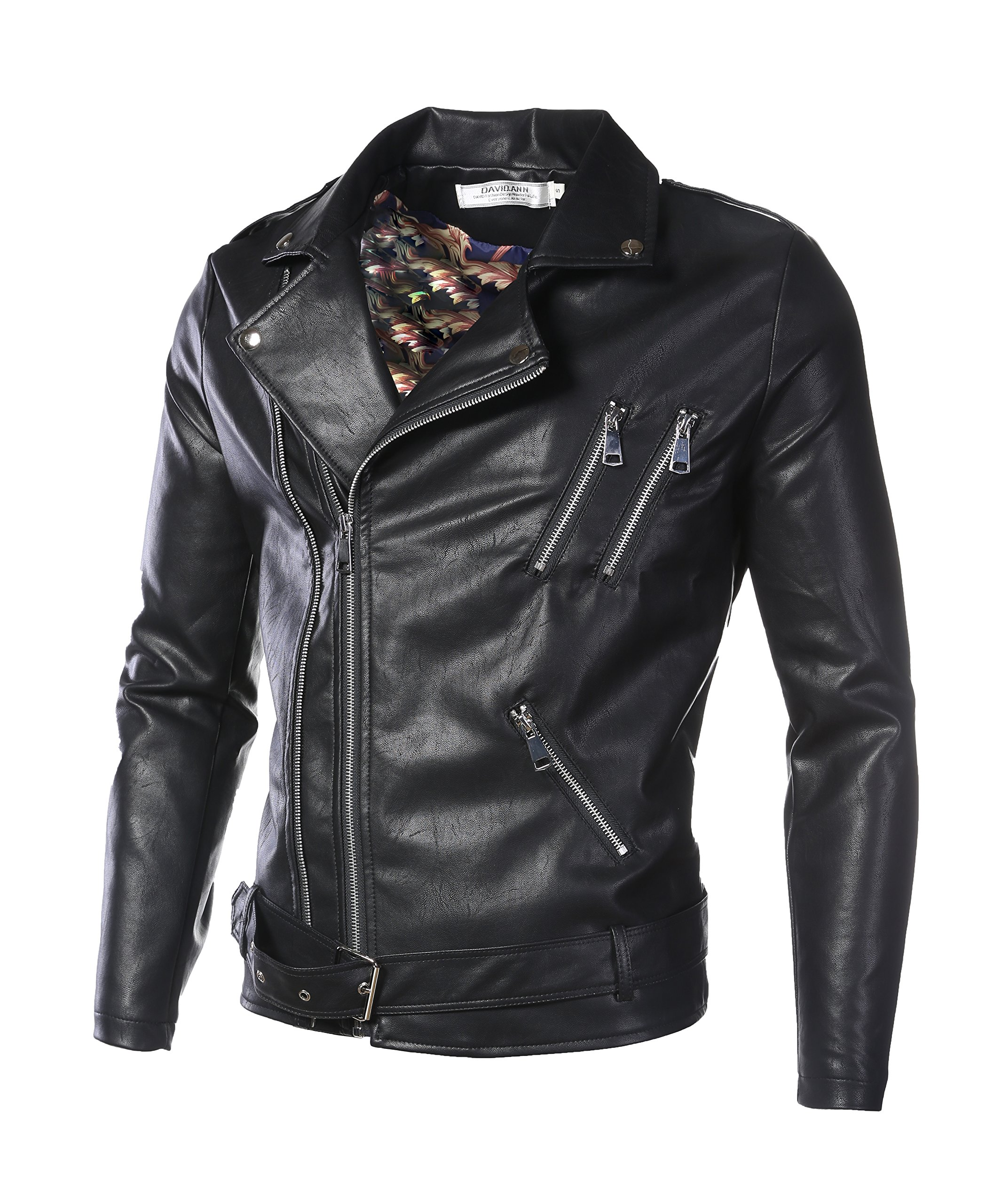 DAVID.ANN Men's Classic Faux-Leather Biker Zipper Jacket Coat,Black,Medium by DAVID.ANN