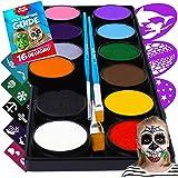 Face Paint Kit for Kids – Blue Squid 12 Color Palette, 30+3 Stencils, Washable Paints, Brushes Guide, Safe Facepainting…