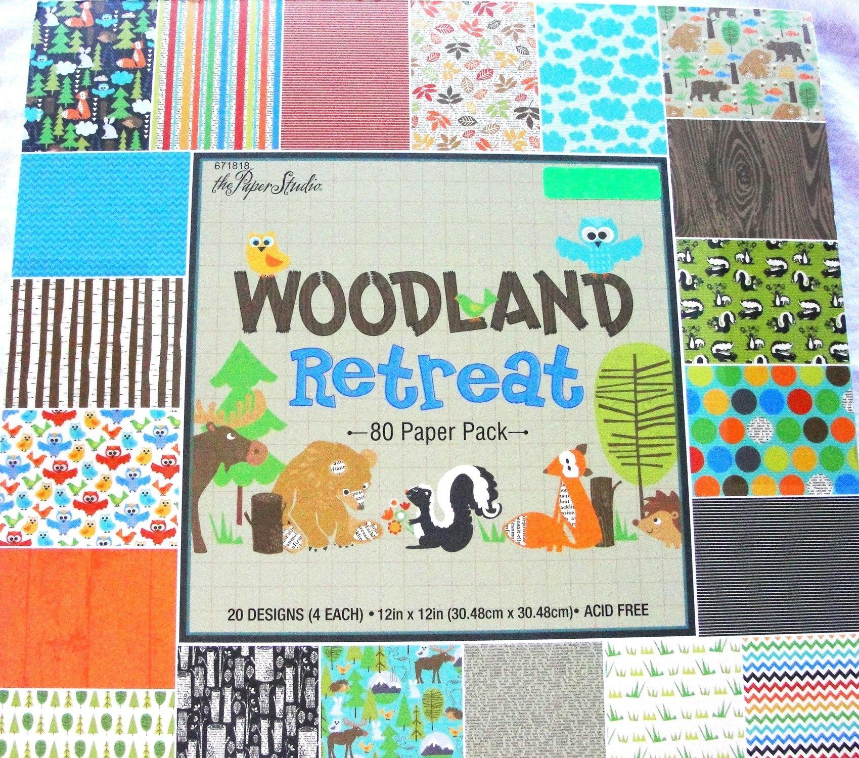 Woodland Retreat 12x12 Scrapbooking Paper Pack, Fox, Moose, Bear, Skunk, Owl, Trees etc. 80 sheets