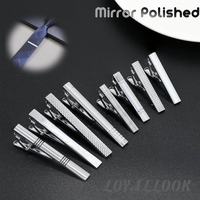 LOYALLOOK 8PCS Tie Bar Clip Set Tie Tack Pins Clips for Men Necktie Bar Pinch Clip Set Skinny Regular Ties Necktie Wedding Business Clips