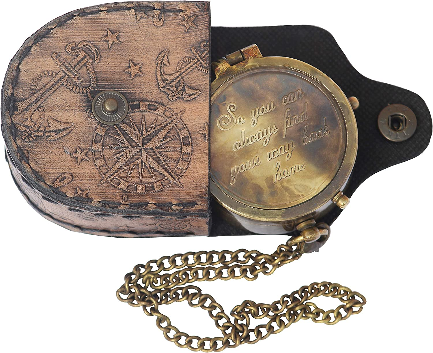 """Mariyam Art Handicraft """"So You Can Always Find Your Way Back Home"""", Camping Compass Engraved Gift Compass"""