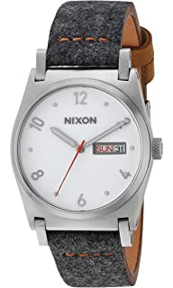 Nixon Womens Jane Leather Quartz Metal and Cloth Watch, Color:Grey (