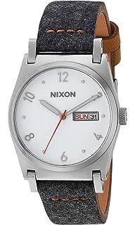 Nixon Womens Jane Leather Quartz Metal and Cloth Watch, Color:Grey (