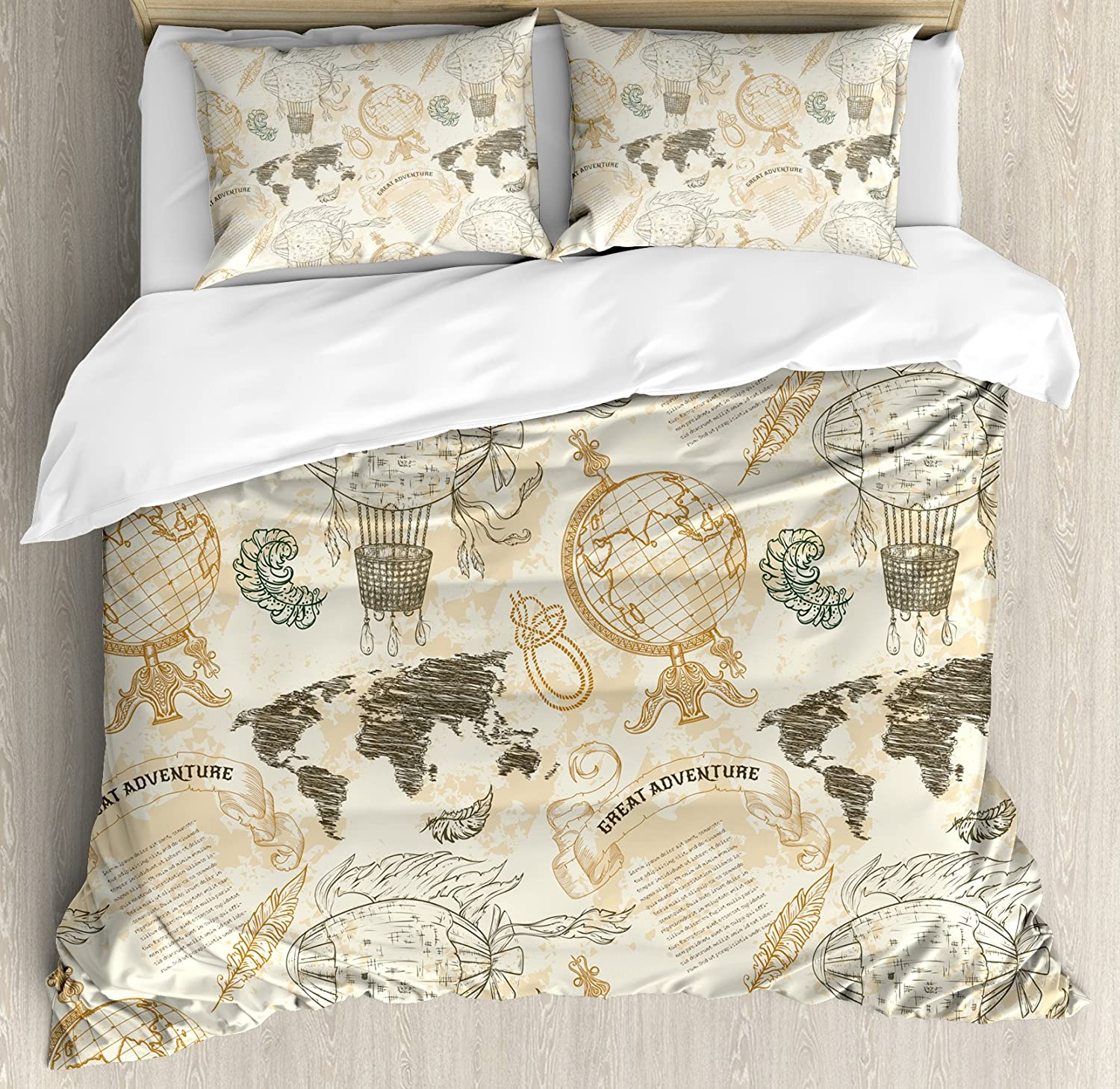 Wanderlust Duvet Cover Set Queen Size, Vintage Globe World Map 3 Piece Bedding Set with 2 Pillow Shams, Beige Olive Green