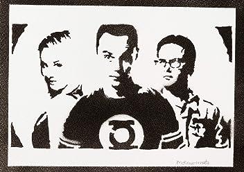 The Big Bang Theory Sheldon Penny And Leonard Poster Handmade Graffiti Street Art - Artwork