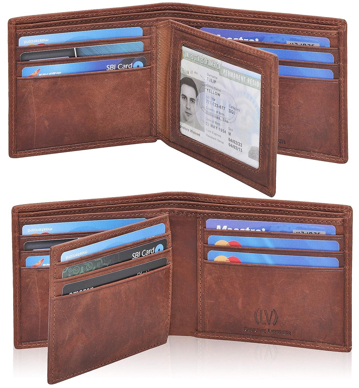 Genuine Leather RFID Blocking Handmade Multi cards Bifold Wallet for Men - Slim Mens Wallet