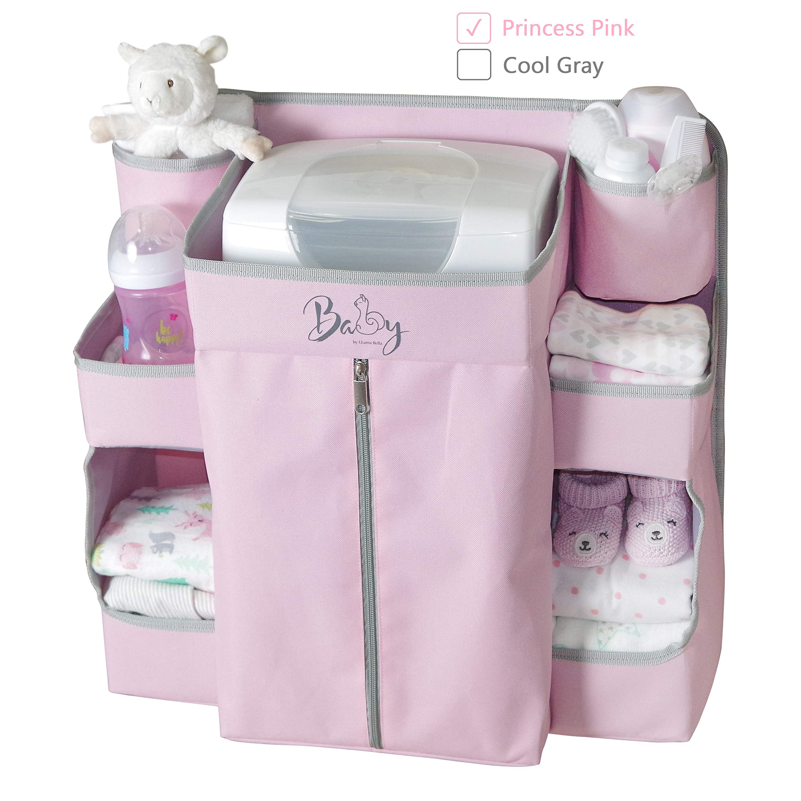 Llama Bella Premium Nursery Organizer and Baby Diaper Caddy | Hanging Diaper Organizer for Baby Essentials | Hang on Crib, Changing Table, Playard or Furniture | Portable Storage for Wipes (Pink) by Llama Bella