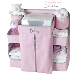 Llama Bella Premium Nursery Organizer and Baby Diaper Caddy | Hanging Diaper Organizer for Baby Essentials | Diaper Organizer for Crib, Changing Table or Playard | Baby Crib Storage Organizer (Pink)